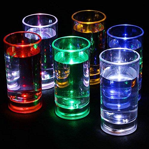 bar@drinkstuff Lot de 6 verres a shot 60 ml , avec Led activé par le liquide