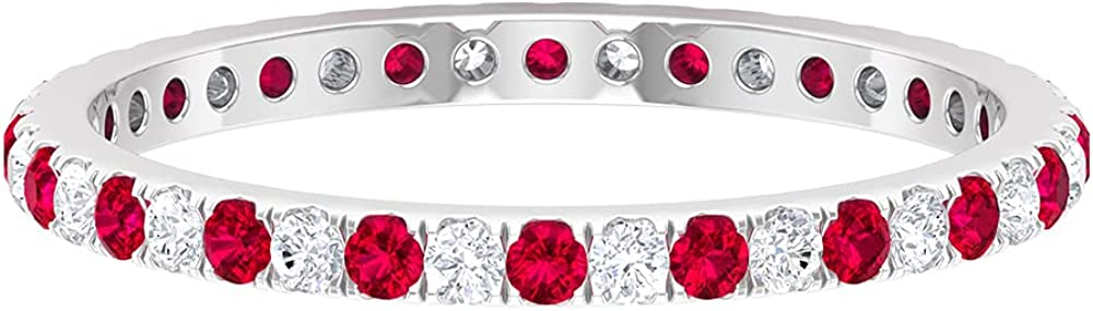 1/2 CT Ruby and Diamond Full Eternity Stackable Band Ring (AAA Quality),14K White Gold,Diamond,Size:US 3.00