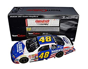 AUTOGRAPHED 2002 Jimmie Johnson #48 Lowes Racing POWER OF PRIDE  Rookie Season  Hendrick Motorsports Team Caliber Preferred Series Signed 1/24 Scale NASCAR Diecast with COA  1 of only 6,240 produced