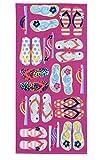 Mainstay Pink Beach Towel - Flip Flops - 28'' x 60''