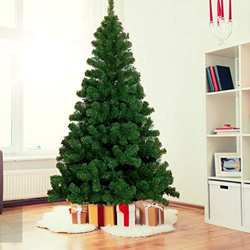 Jesaisque 7.5ft Hinged Fir Pencil Artificial Christmas Tree with Metal Foldable Stand, Ideal Artificial Xmas Tree for Home and Office (Green, 7.5ft)