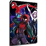 Toile murale abstraite Spiderman dans le verset d'araignée peinte à la main sur toile 3D contemporaine paysage moderne pour décoration de bureau 50,8 x 76,2 cm