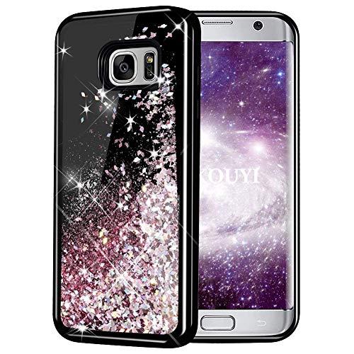 KOUYI Cover Galaxy S7 Edge, 3D Glitter Liquido Silicone TPU Bumper Telefono Cellulari Smartphone Protezione Cover,3D Bling Protettiva Case Custodia per Samsung Galaxy S7 Edge (Oro Rosa)