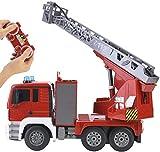 Hogar Personalidad Modelo Remoto Control Fire Motor Rescue Truck Toy Construction Engineering Toys Toys Vehículos con Sonido y Rojo Claro UOMUN