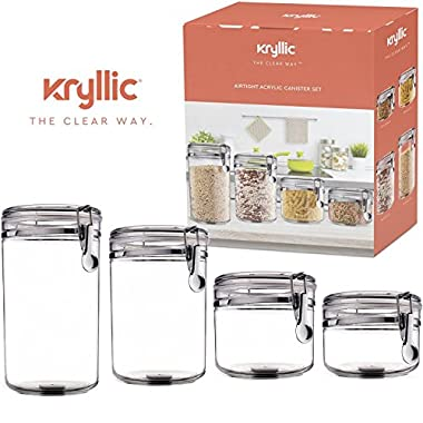Food Storage containers canister set - Cereal Container Air Tight Canisters with lids for the dry flour coffee rice acrylic plastic clear glass airtight cannister sets for kitchen