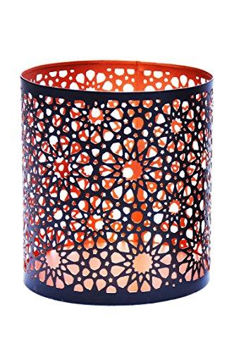 3er Set Orientalisches Windlicht Laterne orientalisch Adiba 14cm Groß | Orientalische Vintage Teelichthalter Kupferfarben innen schwarz außen | Marokkanische Windlichter aus Metall als Dekoration - 3
