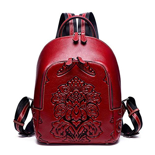 DokinReich Rucksack Damen City Rucksack Outdoor süßer Lederrucksack Vintage Echt Leder 3D Prägung (Rot)