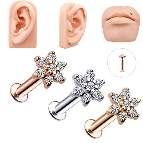 Zent 1 Pieza 1,2x6 / 8x6m Flor Colorida Anillo de Labios Oreja Tragus Piercing Bar cartílago Pendiente Stud Piercing joyería de Moda para niñas