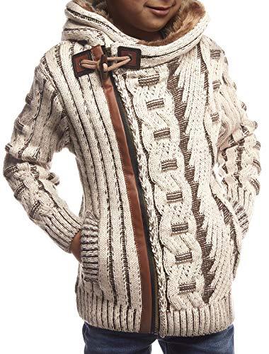 Leif Nelson kinderen jongens gebreide jas met capuchon ritssluiting Cardigan zwarte jas voor winter winterjas overgangsjas hoodie vrijetijdsjas lange mouwen LN5555K