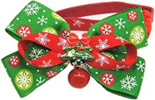 Christmas Santa Bowtie Collar for Dogs Cats Pet, Adjustable Holiday Leather Collar with Alloy Bell Xmas Year Festivel, Neck 5