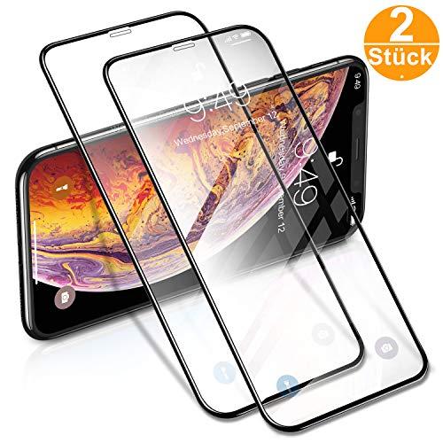 """Humixx Panzerglas Schutzfolie für iPhone 11 Pro/iPhone X/iPhone XS (5.8""""), [2 Stück] [3D Vollständige Abdeckung] Ultra Smooth Härtegrad 9H gehärtetes Glas Blasefrei HD Anti Schmutz Fingerabdrücke"""
