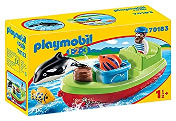 Playmobil 70183 1.2.3 Fisherman with Boat for Children 18 Months+