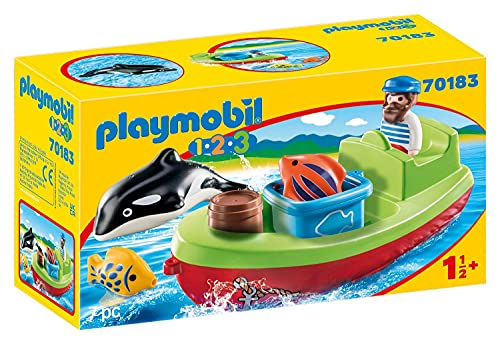 PLAYMOBIL 1.2.3, 70183 Pescador con bote, Para niños de 1,5 a 4 años