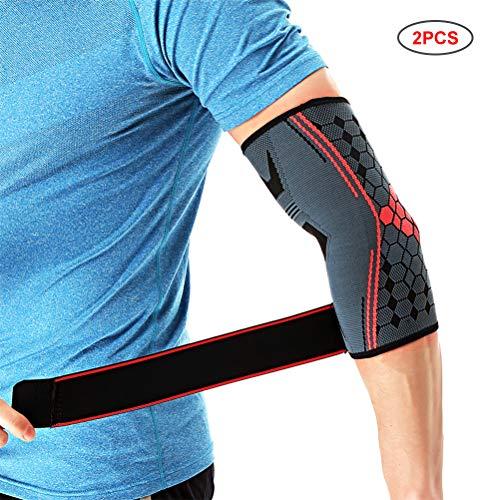 Knowooh Damen Herren Ellenbogenbandage Verstellbare Atmungsaktive Ellbogenschiene Ellenbogenschoner Kompression Für Sport Fitness Gym Ellbogen Bandage(rot/M)
