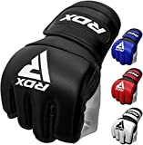 RDX MMA Gloves for Martial Arts Grappling Training, D. Cut Open Palm Maya Hide Leather Sparring Mitts, Good for Muay Thai, Kickboxing, Cage Fighting, Combat Sports and Punching bag