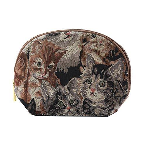 Signare sac à cosmétiques en toile tapisserie mode femme animaux (chat)