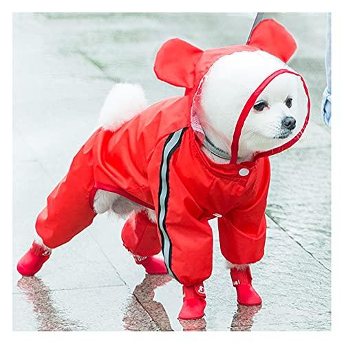 FDQNDXF Chubasquero Impermeable para Perro, Chaqueta con Capucha de Moda para Cachorros con Reflectante y Orificio para el Arnés, para Perros Pequeños y Medianos