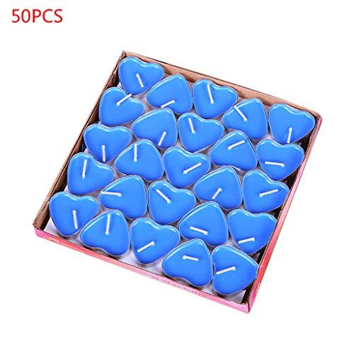 Eliky - Juego de 50 velas de té, diseño de corazón azul