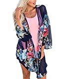 Women's Sheer Chiffon Floral Kimono Cardigan Long Blouse Loose Tops Outwear Dark Blue XXL