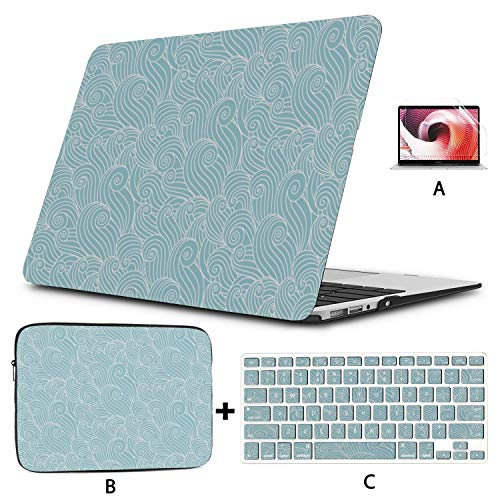 A1706 MacBook Pro Case Ocean Waves Organic Shapes MacBook Pro 2018 Accessories Hard Shell Mac Air 11'/13' Pro 13'/15'/16' with Notebook Sleeve Bag for MacBook 2008-2020 Version