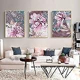 Pintura Impresiones sobre Lienzo Abstracto Flores Rosa Pintura Escandinavo Lienzo Nórdico Carteles e Impresiones Sala Decoración del Hogar No Enmarcado Arte de Pared - 40x60cm