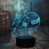 Figura de Japón Anime Cool Naruto Gaara 3D LED, ilusión óptica, lámpara de mesa de 7 colores, lámpara de mesa Sasuke Kid Dormitorio Decoración de Navidad Luz suave segura para niños