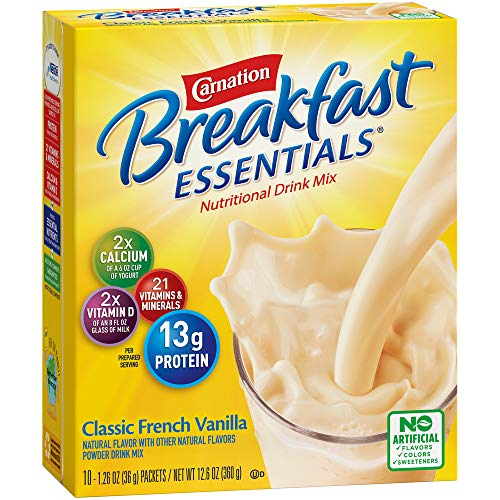 Carnation Breakfast Essentials Powder Drink Mix, Classic French Vanilla, 10 Count Box of 1.26 oz Packets, (Pack of 6)