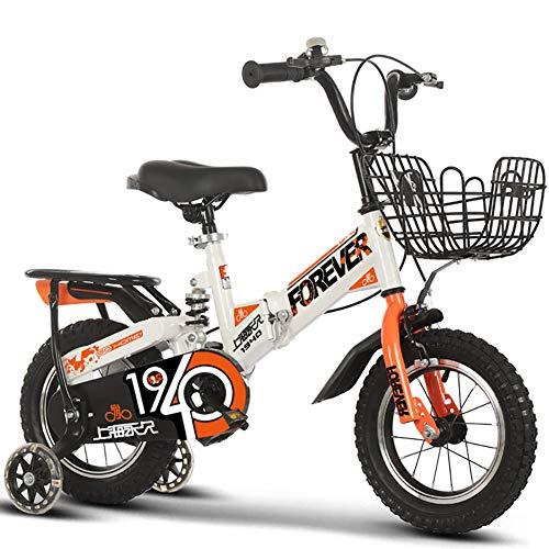 Zhihehe - Bicicletta per bambini con ruote da allenamento per bici da 12 14 16 18 pollici, cavalletto per bicicletta da 18 pollici (blu, rosso, bianco, rosa), Bianco: A., 18INCH