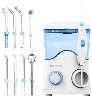 Water Dental Oral Irrigator for Teeth/Braces,10 Pressure Levels Water Teeth Cleaner 8 Water Jet Tips for Family, 600ML Electric Dental Flosser Pick for Tooth Cleaning (White)