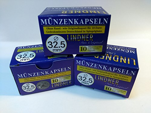 30 Stück Original LINDNER Münzkapseln 32,5 mm, für 10 € -, 20 €, 25 € - und 10 DM - Münzen