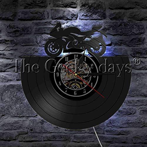 FDGFDG Retro Motorrad Silhouette Wandleuchte Vinyl Schallplatte Wanduhr Mit LED Nachtlicht Race Speed Motorrad Moderne Beleuchtung