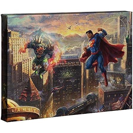 Thomas Kinkade Studios Blend Cota Justice League Showdown 10 x 14 Wrap Canvas