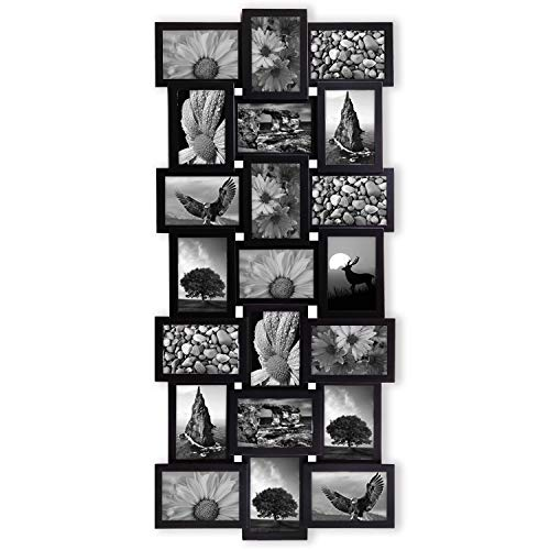 Jerry & Maggie - Photo Frame 17x39 Black Picture Frame Selfie Gallery Collage Wall Hanging for 6x4 Photo - 21 Photo Sockets - Wall Mounting Design