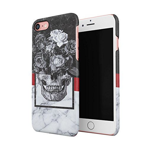 Floreale Roses Human Skull Black & White Marmo Stone Custodia Posteriore Sottile in Plastica Rigida Cover per iPhone 7 & iPhone 8 & iPhone SE 2020 Slim Fit Hard Case Cover
