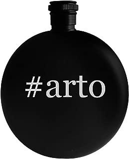 #arto - 5oz Hashtag Round Alcohol Drinking Flask, Black