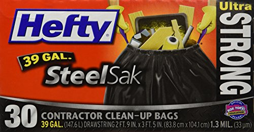 Hefty Trash Bag 39 Gal. 1.3mil Plastic Black - 30 ct.