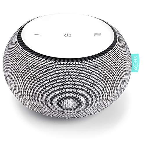 SNOOZ Máquina de sonido de ruido blanco - Ventilador real interior para sonidos de ruido blanco no bucle, control remoto basado en aplicaciones, temporizador de sueño y luz nocturna, nube