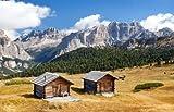 adrium Alu-Dibond-Bild 30 x 20 cm: Wooden small Cabin in dolomities alps Mountains, Italian dolomiti, Italy, Bild auf Alu-Dibond
