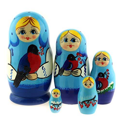 Azhna 5 Stück 10,5 cm Nistpuppe Seasons Serie Handbemalt Russische Matroschka Puppe Holz Stapelbare Babuschka Puppe (Blau)