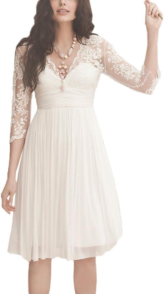 Abaowedding Women's Long Sleeves Double V Neck Short Wedding Dresses Bridal Gown