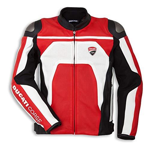 Ducati Corse C4 Herren Lederjacke perforiert weiß/rot Gr. 48