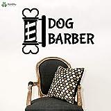 fancjj Etiqueta de la Pared Diseño Creativo Dog Barber Logo Etiqueta de La Pared Pet Grooming Salon Decoración de la Ventana Extraíble Animal SPA Mural 89x57cm