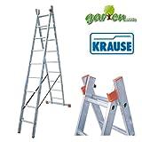KRAUSE  lcc571doppelte Leiter mit 2x 9Trittstufe, 5.25m/3.85M/3.6m Höhe Leiter, 4.2m/2.55m/2.6m Höhe Stehleiter, 4.35m/2.7m/2.7m Länge