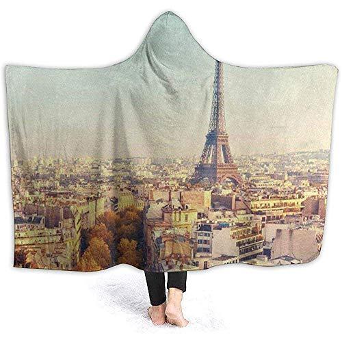 Manta de forro polar para adultos, 100 x 130 cm, vista en la Torre Eiffel al atardecer París Francia