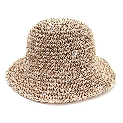 GLGSHOULIAN Chapeau De Pêcheur Femme,Tempérament Sauvage Mode Rose Printemps Été Pearl Straw Hat Femmes Dôme Sun Hats Cap Casual Outdoor Bucket Hat pour Lady Fisherman Visor Hat Travel Headwear