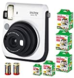 Bundle Fuji Instax Mini 70 Instant Camera White + 100-shot Film + 2 Spare CR2 Battery: all you need to start Instant photography