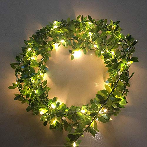 Danolt 5m 50 LED Copper Wire Leaf Fairy Battery Powered Light Garland for Wedding Party House Bedroom Home Decor.