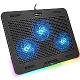 KLIM Aurora + Base di Raffreddamento RGB per PC Portatili da 11 a 17 + Alimentata USB + Supporto di Raffreddamento per Laptop da Gaming + Stabile e Robusto + Ampia compatibilità + Nuova 2021