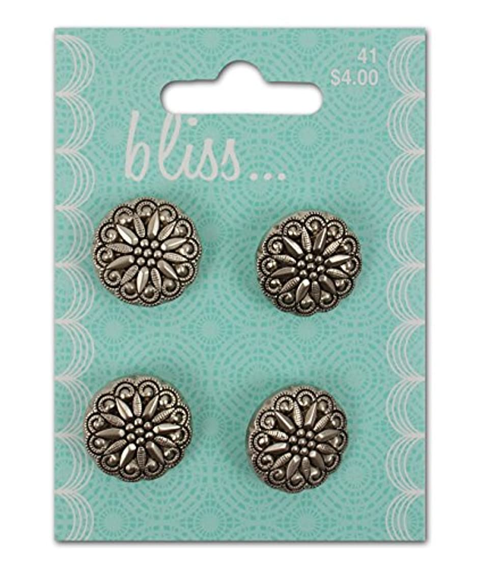 Blumenthal Lansing Company La Mode - Specialty Buttons & Clasps, Antique Silver, 4 Piece