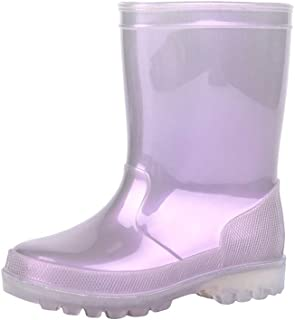 IBAOTTY Toddler Rain Boots Girl's and Boy's Glitter Waterproof Rain Shoes with Pearl Color